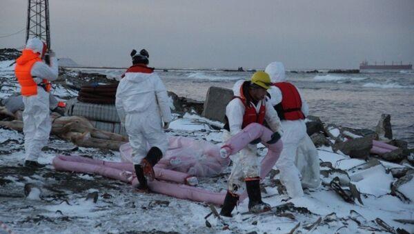 Очистка береговой полосы в Невельском районе после аварии танкера Надежда