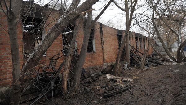 На месте пожара в психоневрологическом диспансере. Архивное фото.