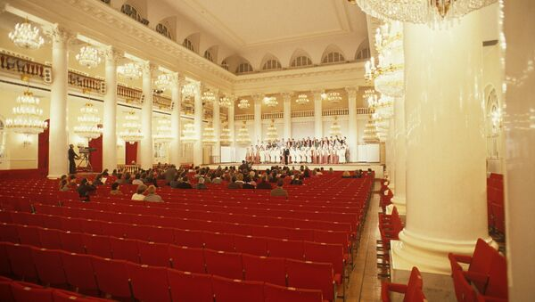 Колонный зал Дома союзов во время репетиции. Архивное фото