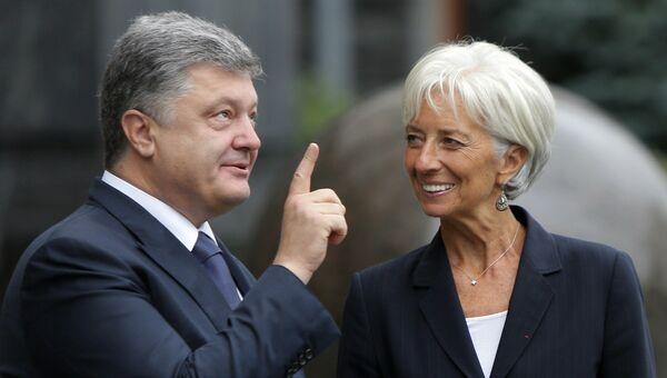 Президент Украины Петр Порошенко и директор-распорядитель МВФ Кристин Лагард. Февраль 2016 года