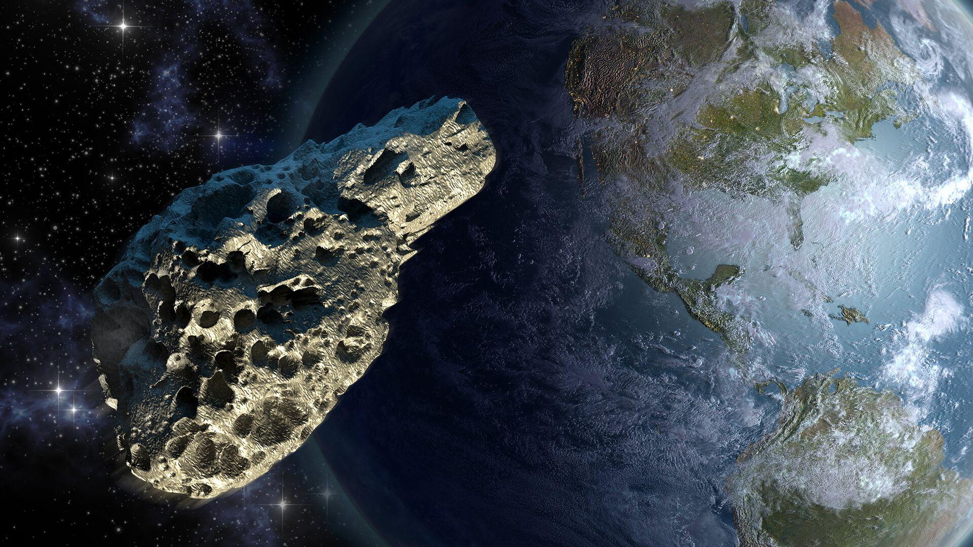 Рисунок астероида около планеты Земля - РИА Новости, 1920, 11.01.2021