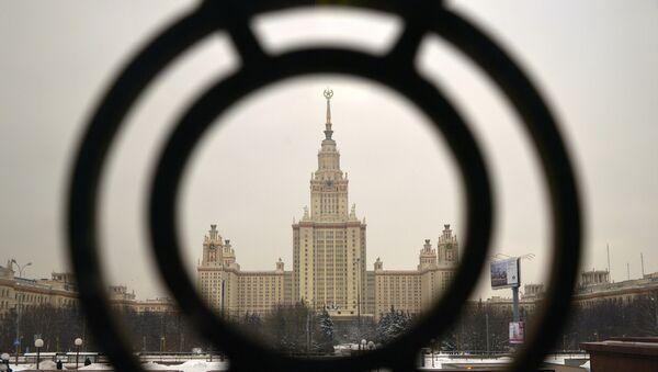 Главное здание Московского государственного университета имени М.В. Ломоносова на Воробьевых горах в Москве