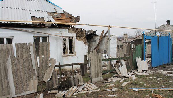 Жилой дом, пострадавший в результате обстрела украинскими силовиками, в Макеевке. Архивное фото