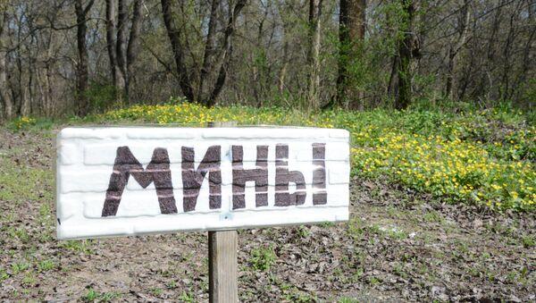 Указатель Мины близ линии разграничения в ЛНР. Архивное фото
