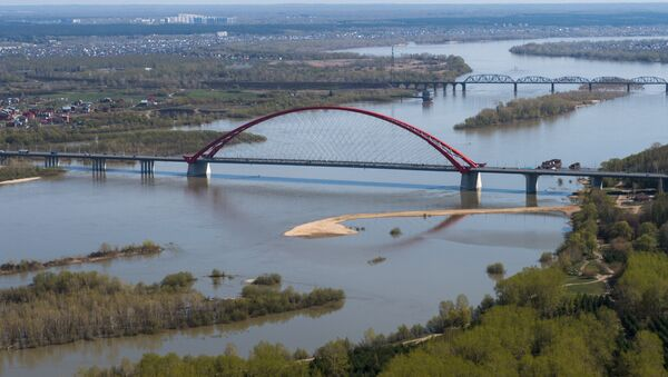 Бугринский автомобильный мост через реку Обь в Новосибирске. Архивное фото