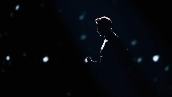 Сергей Лазарев на генеральной репетиции первого полуфинала 61-го международного конкурса песни Евровидение - 2016 в Стокгольме. Архивное фото.