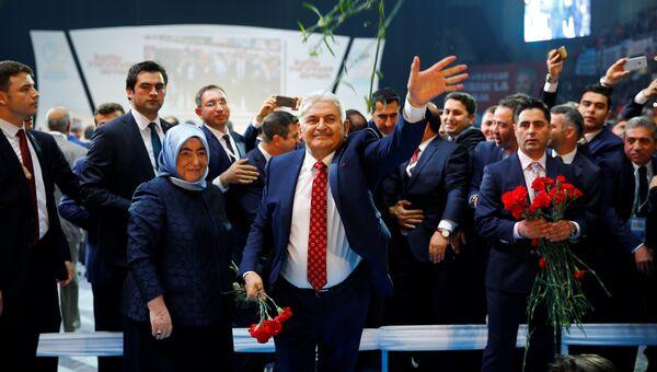 Избранный председатель правящей партии Турции Бинали Йылдырым на внеочередном съезде ПСР. 22 мая 2016 года