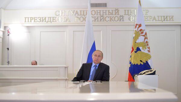 Президент РФ В. Путин дал старт отгрузки нефти через терминал Ворота Арктики на Ямале
