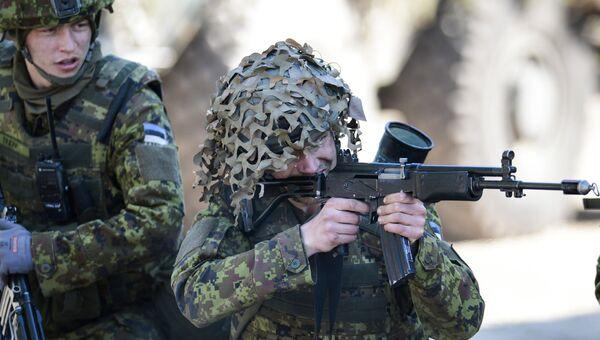 Силы обороны Эстонии совместно с союзниками НАТО во время военных учений Весенний шторм