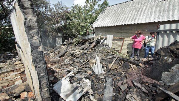 Разрушенные в результате обстрела дома в Донецке. Архивное фото