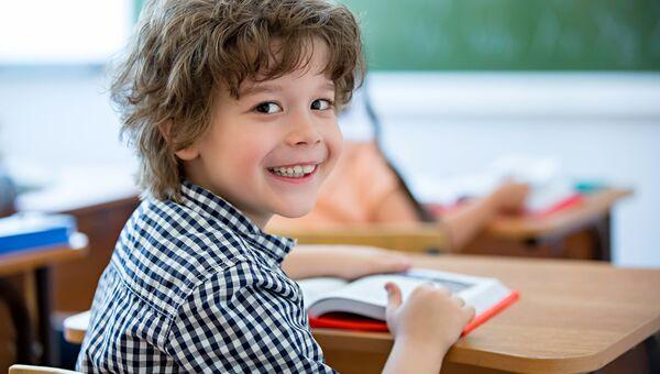 Мальчик на уроке в школе