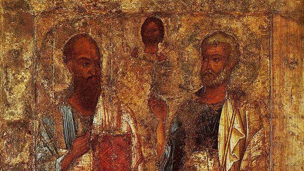 Апостолы Пётр и Павел. Одна из древнейших икон России из Софийского собора Великого Новгорода, середина XI века