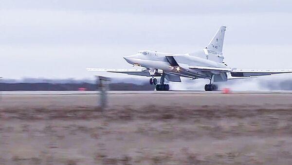 Боевой вылет дальних бомбардировщиков Ту-22М3. Архивное фото