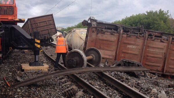 Сход вагонов грузового поезда в Нижегородской области