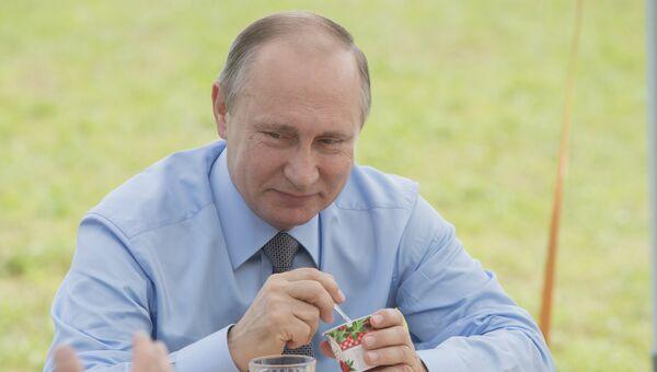 Владимир Путин во время посещения агрофирмы Дмитрова Гора в Тверской области. 28 июля 2016