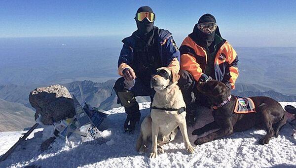 Спасатели Эльбрусского высокогорного поисково-спасательного отряда МЧС России на горе Эльбрус. Архивное фото