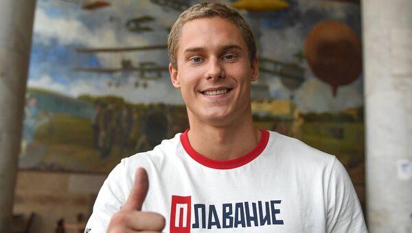 Спортсмен олимпийской сборной России по плаванию Владимир Морозов в аэропорту Сантос Дюмон в Рио-де-Жанейро