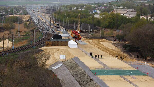 Строительство  железной дороги в обход Украины на участке Журавка-Миллерово в Воронежской области. Архивное фото