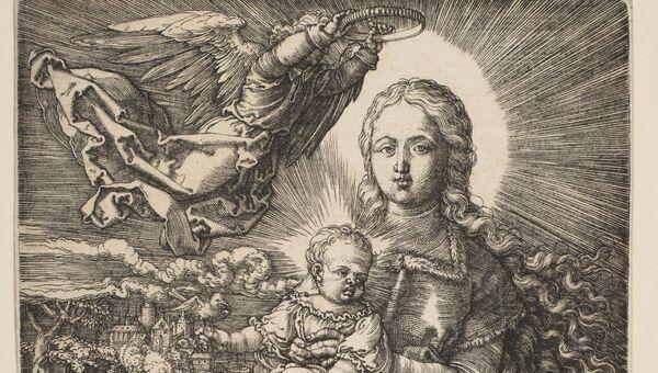 Гравюра Дева Мария коронованная ангелом Альбрехта Дюрера