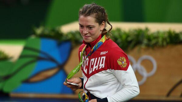 Валерия Коблова, завоевавшая серебряную медаль на соревнованиях по вольной борьбе на XXXI летних Олимпийских играх