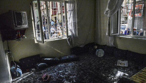 Место взрыва в турецком городе Газиантеп