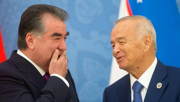 Президент Республики Таджикистан Эмомали Рахмон и президент Республики Узбекистан Ислам Каримов в Узбекистане