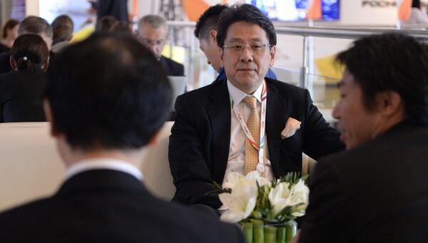 Главный исполнительный директор, главный управляющий директор Японского банка для международного сотрудничества (JBIC) Тадаси Маэда на Восточном экономическом форуме во Владивостоке.
