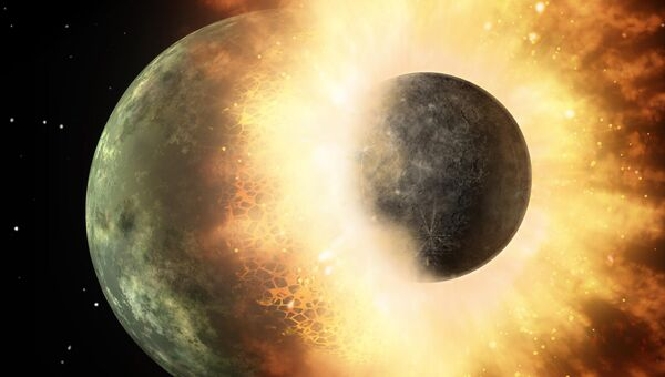 Так художник представил себе падение протопланеты на Землю