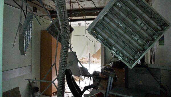Разрушения в здание украинского телеканала Интер в Киеве, где 4 сентября 2016 произошел пожар. Архивное фото