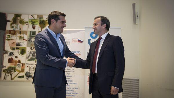 Аркадий Дворкович и Алексис Ципрас на российско-греческом бизнес-форуме