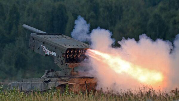 Тяжёлая огнемётная система залпового огня на базе танка Т-72 ТОС-1 Буратино