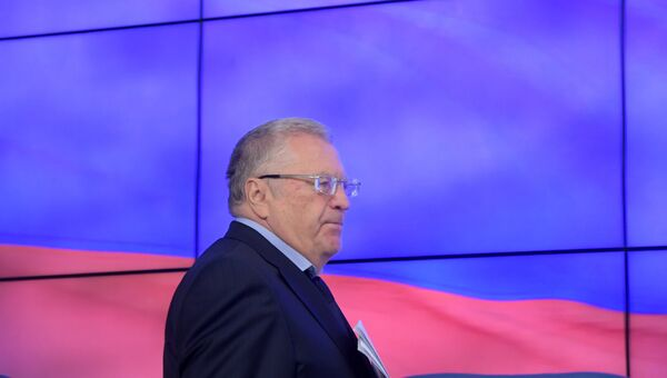 Лидер ЛДПР Владимир Жириновский на пресс-конференции по итогам выборов в Государственную Думу РФ. 16 сентября 2016