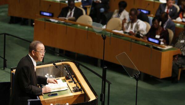 Генсек ООН Пан Ги Мун выступает на Генеральной Ассамблеи ООН в США. 20 сентября 2016