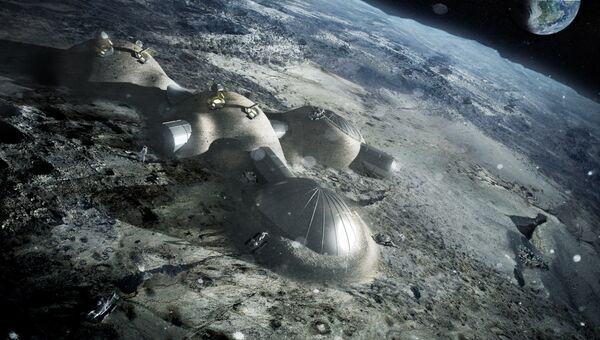 Эскиз проекта Лунный поселок Европейского космического агентства (ESA)