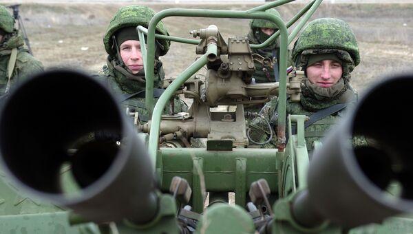Зенитная артиллерийская установка ПВО РФ на учениях. Архивное фото