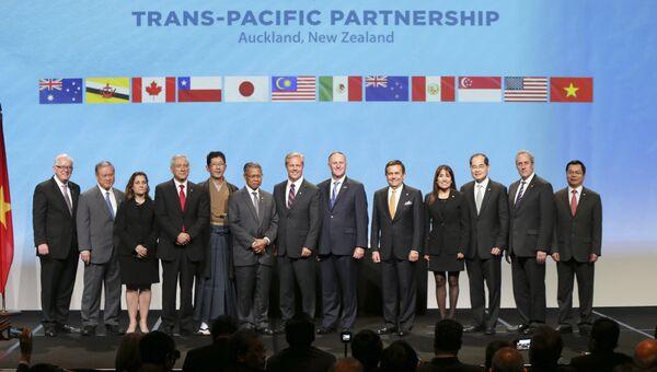 Торговые представители стран участников Транстихоокеанского партнёрства (Trans-Pacific Partnership). Архивное фото
