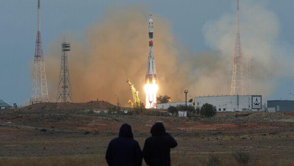 Пуск ракеты-носителя Союз-ФГ с пилотуруемым кораблем Союз МС-02 с космодрома Байконур. 19 октября 2016