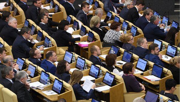 Депутаты на пленарном заседании Государственной Думы РФ. Архивное фото