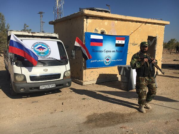 Гуманитарный коридор на севере Алеппо в районе трассы Кастелло, подготовленный под вывод мирных жителей и боевиков из восточной части города