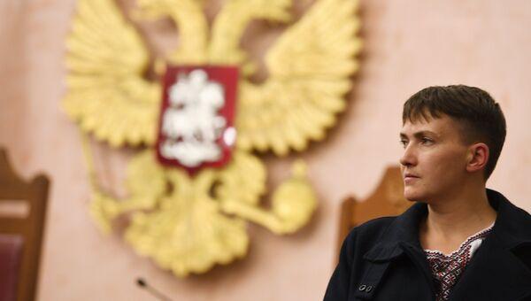 Депутат Верховной рады Надежда Савченко на заседании Верховного суда РФ в Москве. Архивное фото