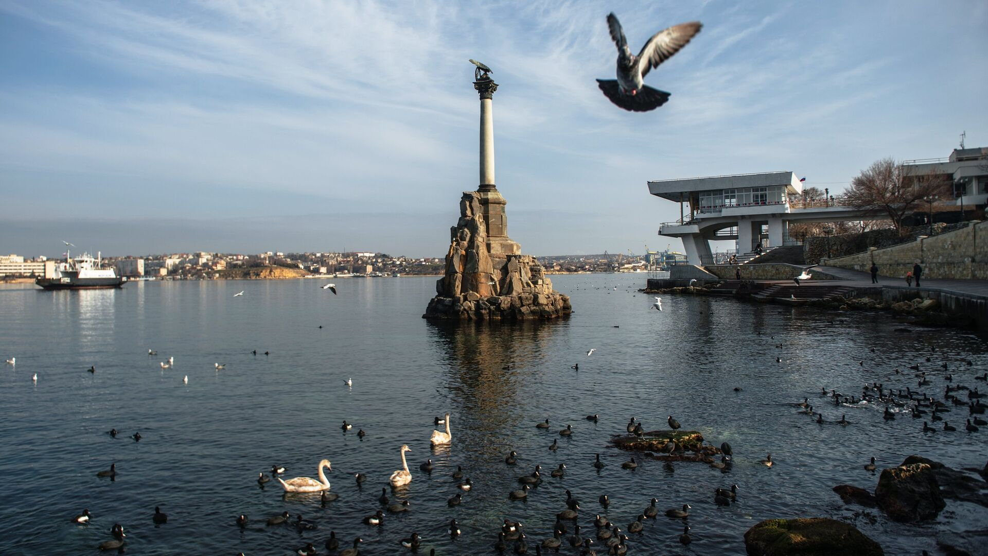 Вид на памятник Затопленным кораблям в Севастополе - РИА Новости, 1920, 14.01.2021