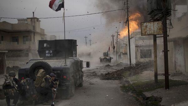 Военные автомобили иракской армии во время операции против ИГ в Мосуле. Архивное фото