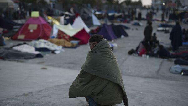 Мигранты на греческом острове Хиос