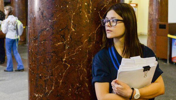 Участница Всероссийского географического диктанта в Главном здании МГУ имени М.В.Ломоносова