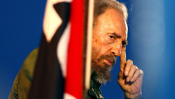 Президент Кубы Фидель Кастро во время обращения к студентам. 26 июля 2006