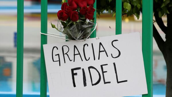 Жители Мексики несут цветы к посольству Кубы в память о Фиделе Кастро
