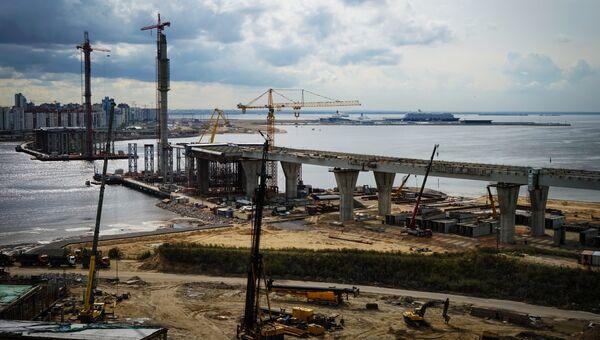 Вид на строительство Северо-Западного скоростного диаметра в Санкт-Петербурге