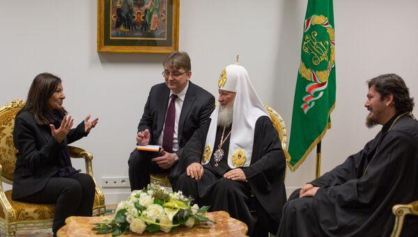 Мэр Парижа Анн Идальго встречается с Патриархом Московским и всея Руси Кириллом в Русском духовно-культурном центре в Париже