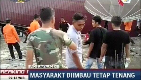 Спасательная операция в зоне землетрясения в Индонезии, 7 декабря 2016