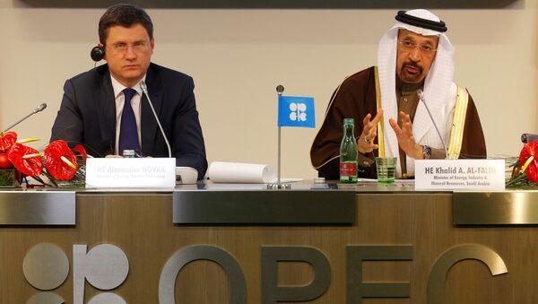 Министр энергетики РФ Александр Новак и министр энергетики Саудовской Аравии Халид аль-Фалих на встрече нефтедобывающих стран в Вене